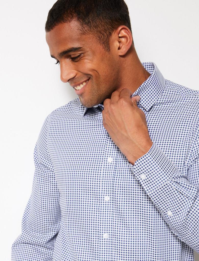 Erkek Lacivert Saf Pamuklu Ütü Gerektirmeyen Slim Fit Gömlek