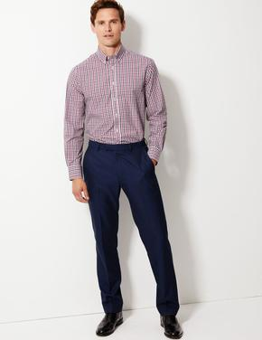 Mor 2'li Pamuk Karışımlı Tailored Fit Gömlek