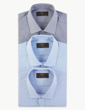 Erkek Mavi 3'lü Pamuk Karışımlı Slim Fit Gömlek