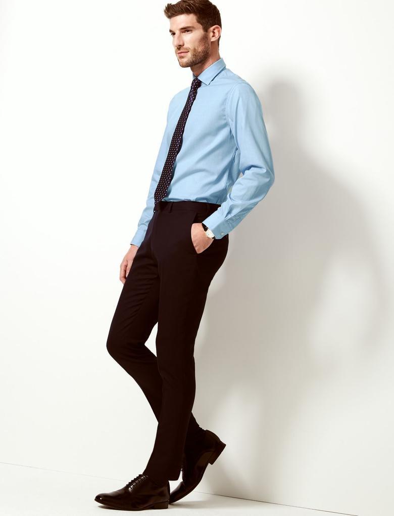 Erkek Mavi Saf Pamuklu Tailored Fit Gömlek