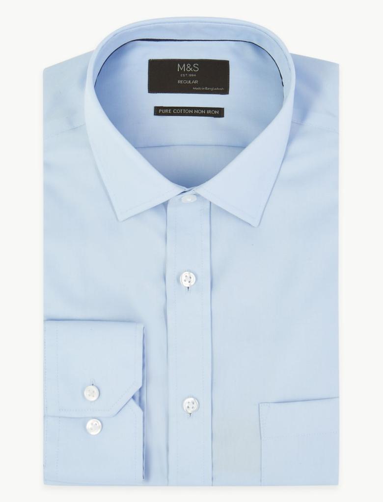 Erkek Mavi Saf Pamuklu Ütü Gerektirmeyen Regular Gömlek