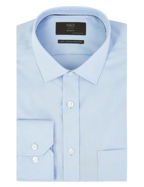 Saf Pamuklu Ütü Gerektirmeyen Regular Gömlek