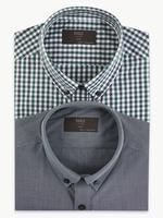 2'li Pamuk Karışımlı Slim Fit Gömlek Seti