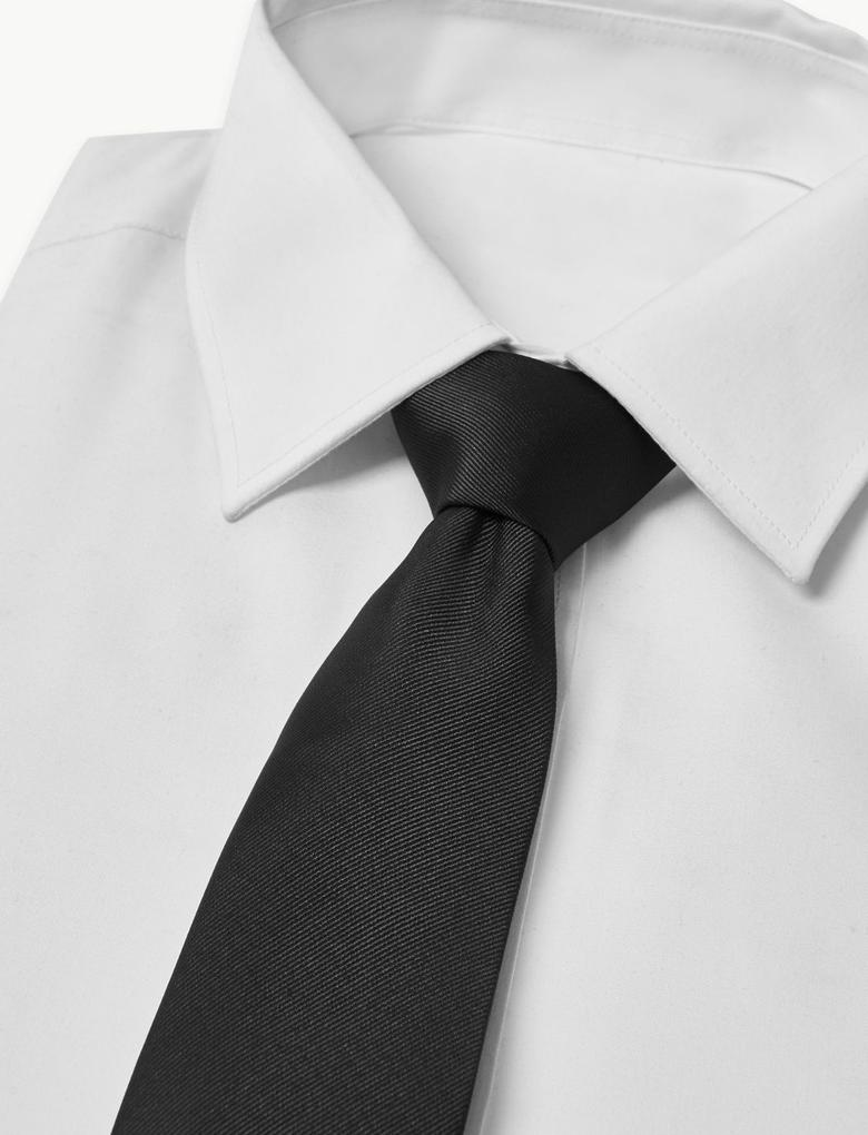 Erkek Siyah Özel Dokulu Kravat