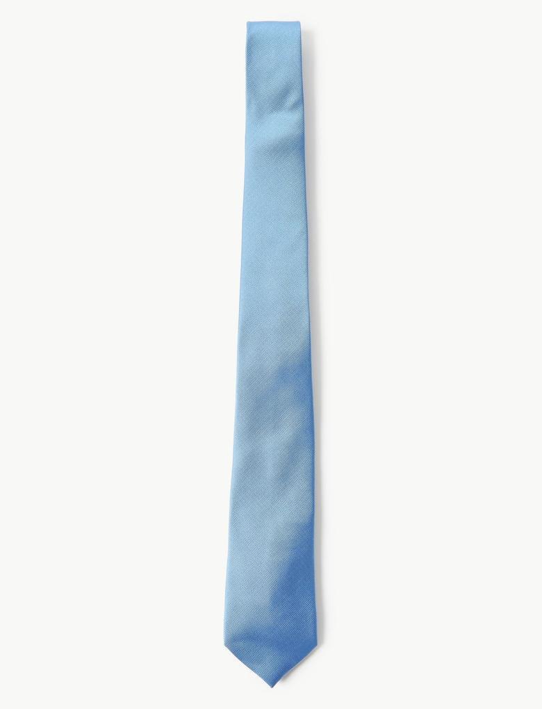 Erkek Mavi Özel Dokulu Kravat