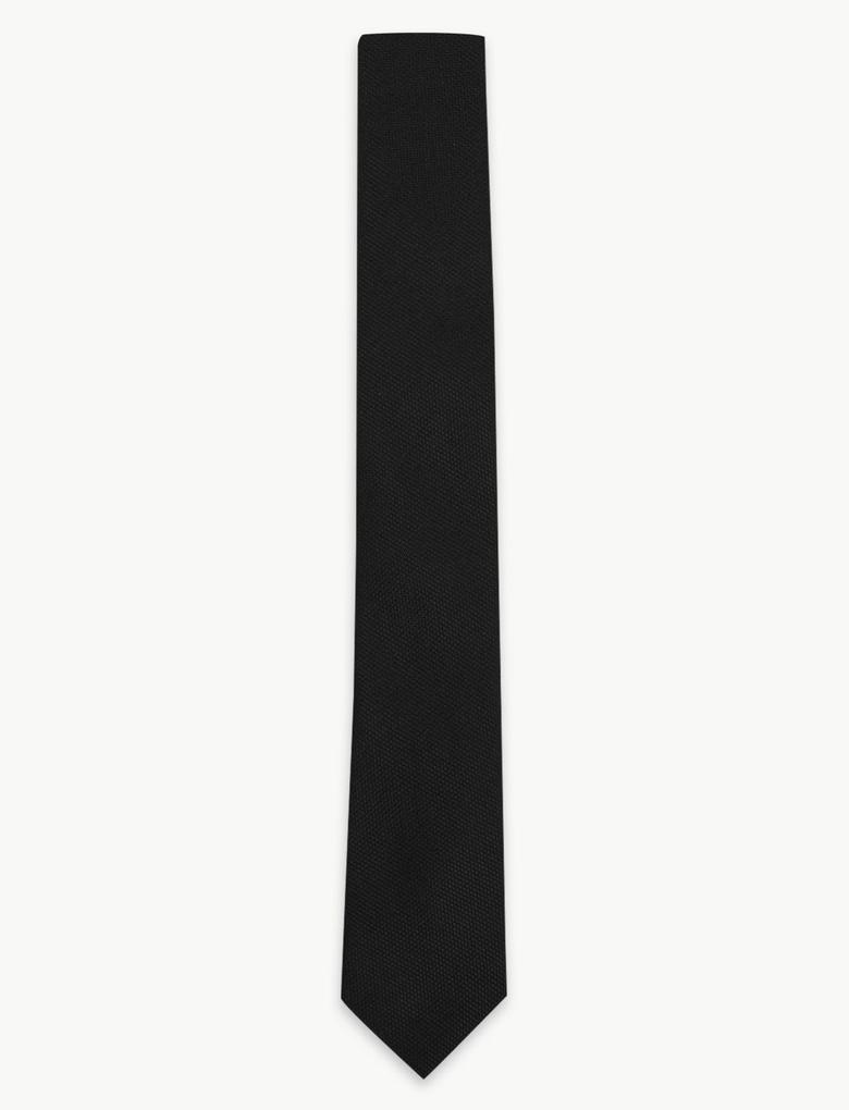 Erkek Siyah Özel Dokulu Skinny Kravat