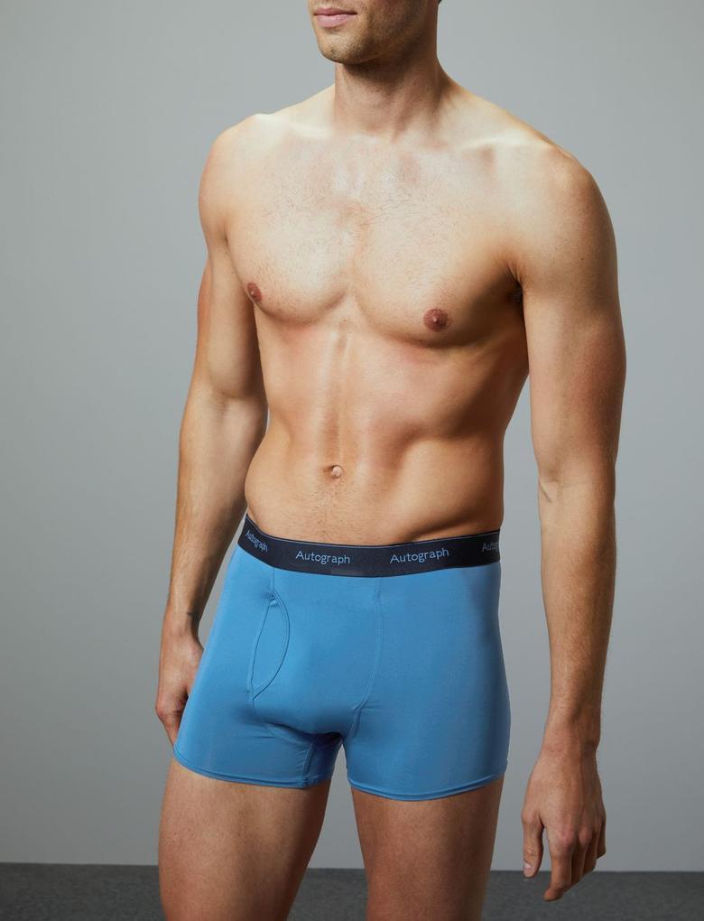 Erkek Mavi 3'lü Microskin Trunk Seti