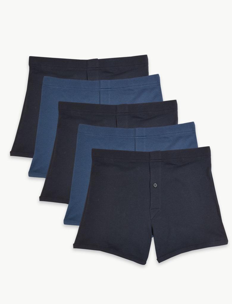 Mavi 5'li Pamuklu Trunk Külot Seti