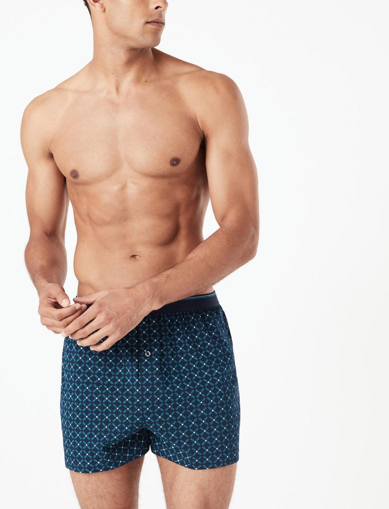 Multi Renk 3'lü Cool & Fresh™ Pamuklu Boxer Seti