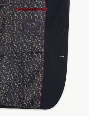 Erkek Lacivert Skinny Fit Çizgili Ceket