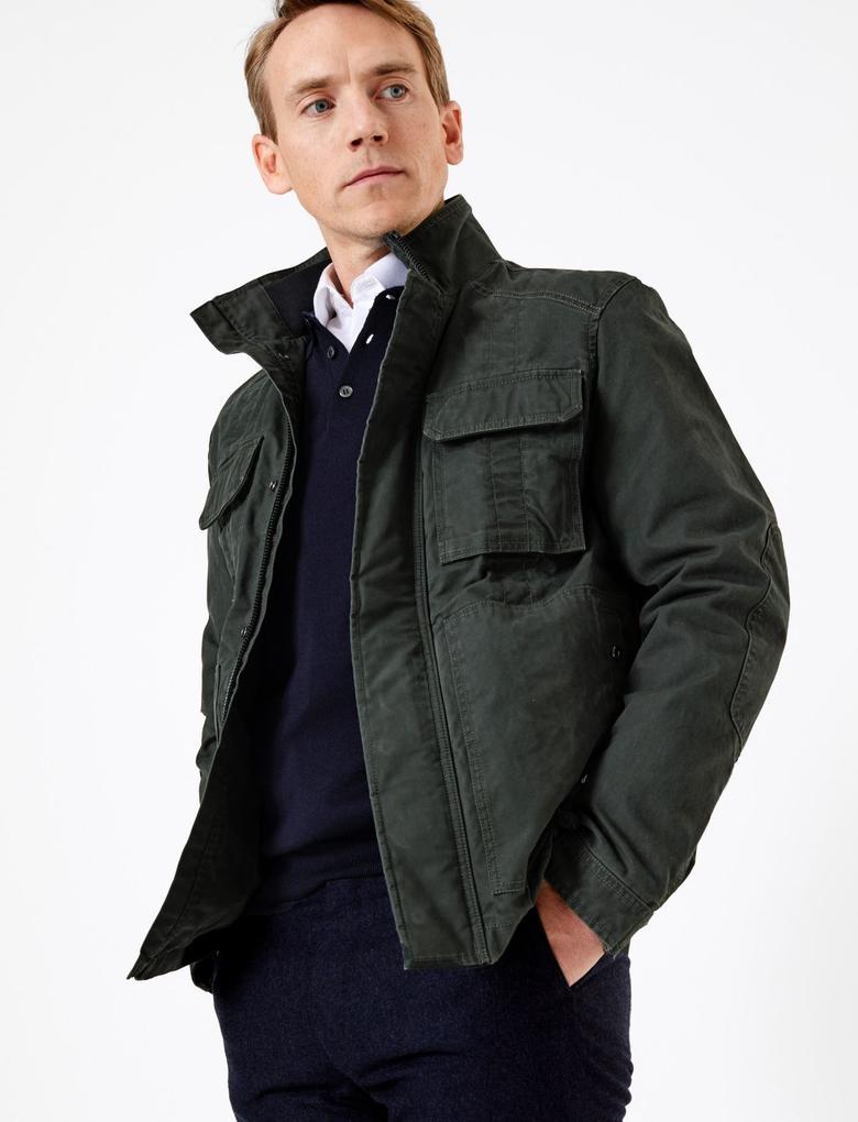 Erkek Yeşil Cepli Pamuklu Ceket
