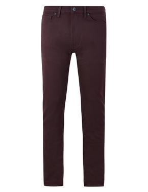Mor Pamuklu 5 Cepli Travel Jean Pantolon