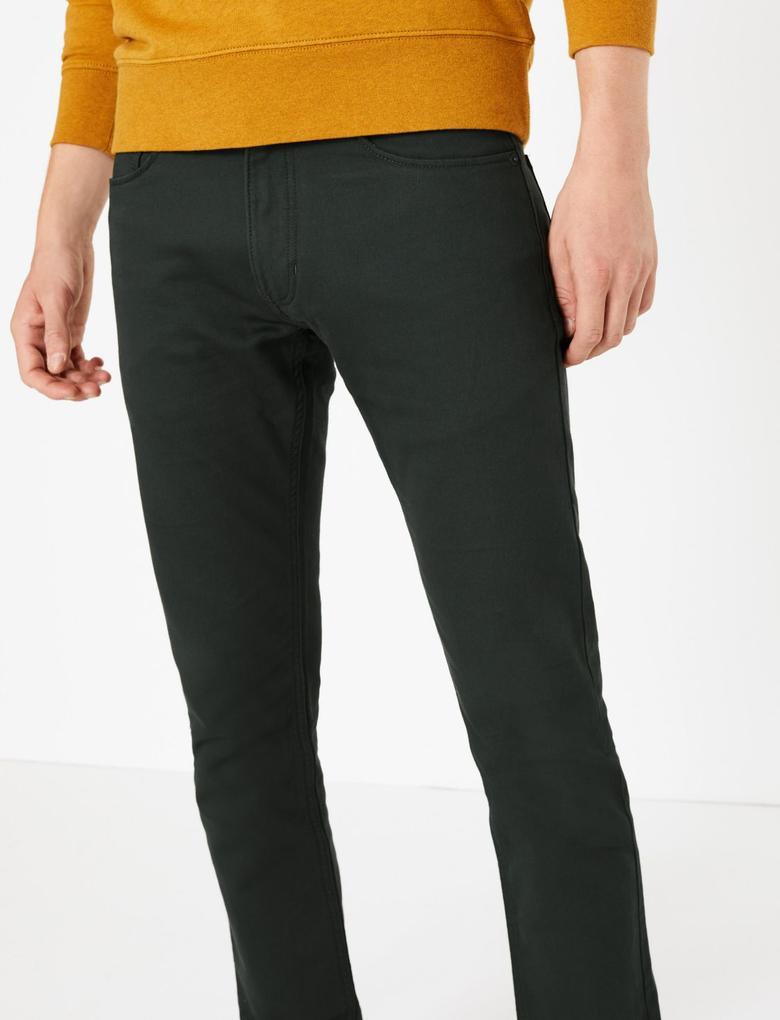 Erkek Yeşil Pamuklu 5 Cepli Travel Jean Pantolon