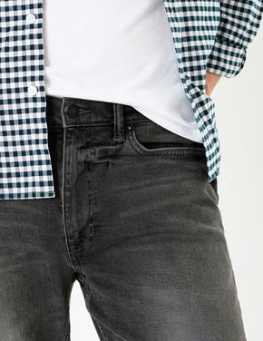 Gri Eskitmeli Yıkamalı Slim Jean Pantolon