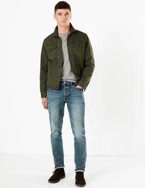 Mavi Eskitmeli Yıkamalı Slim Jean Pantolon