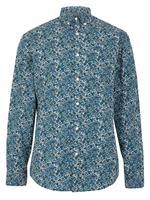 Erkek Mavi Pamuklu Çiçek Desenli Relaxed Gömlek