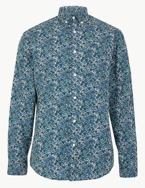 Mavi Pamuklu Çiçek Desenli Relaxed Gömlek