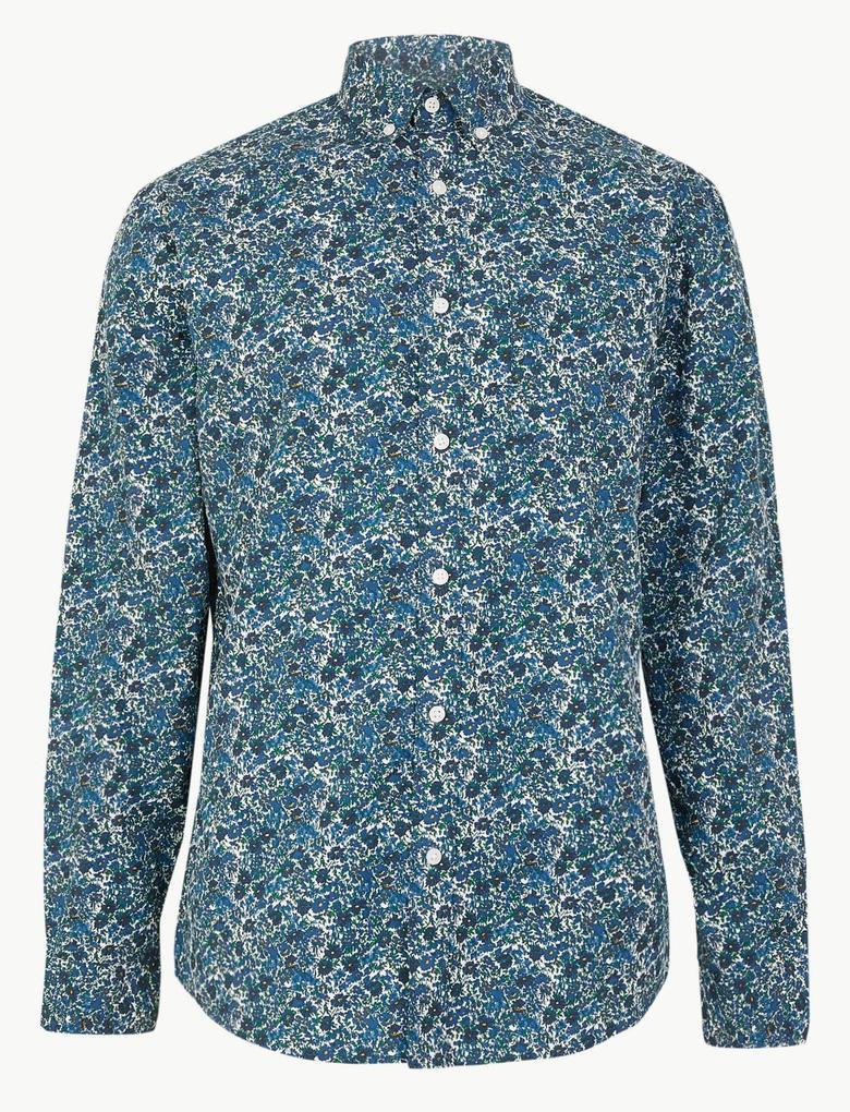 Pamuklu Çiçek Desenli Relaxed Gömlek