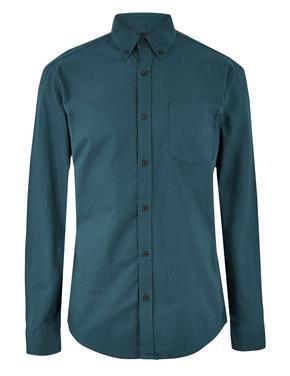 Mavi Saf Pamuklu Oxford Gömlek