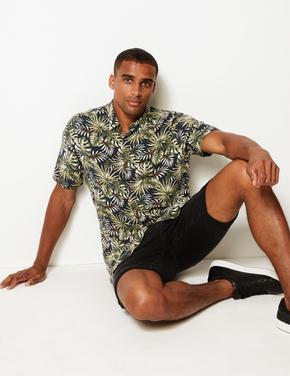 Siyah Desenli Kısa Kollu Gömlek