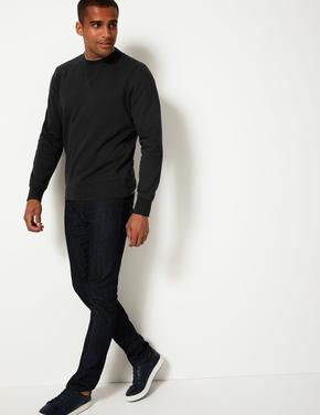 Erkek Siyah Saf Pamuklu Yuvarlak Yaka Sweatshirt