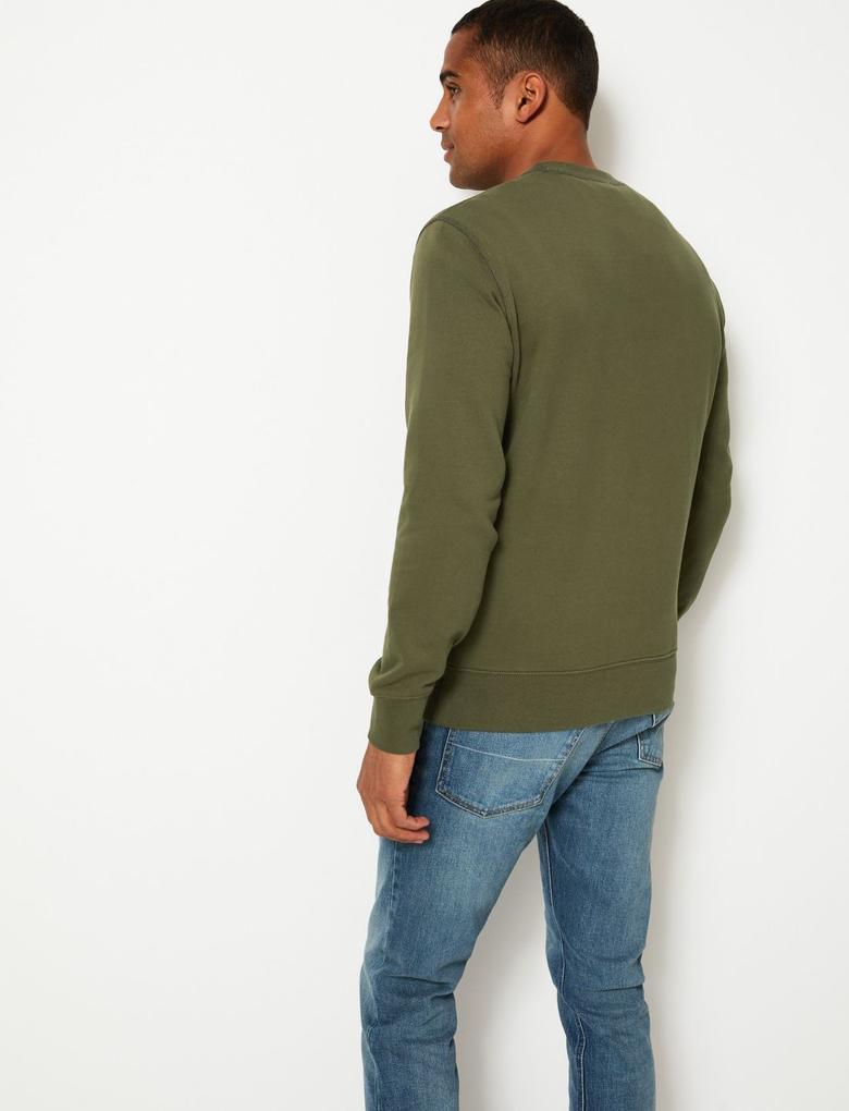 Erkek Yeşil Saf Pamuklu Yuvarlak Yaka Sweatshirt