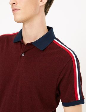 Erkek Kırmızı Saf Pamuklu Polo Yaka T-shirt