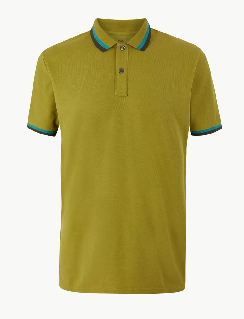 Saf Pamuklu Polo Yaka T-Shirt