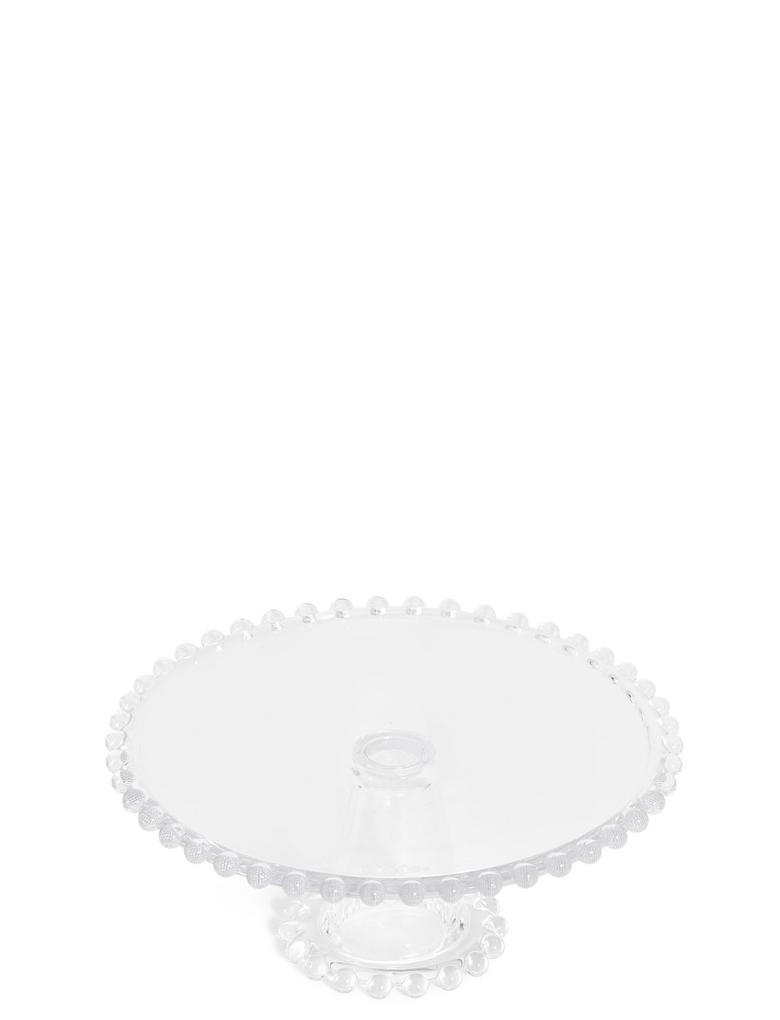 Ev Beyaz Ayaklı Cam Servis Tabağı