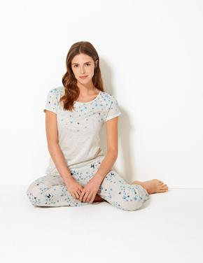 Kelebek Desenli Kısa Kollu Pijama Takımı