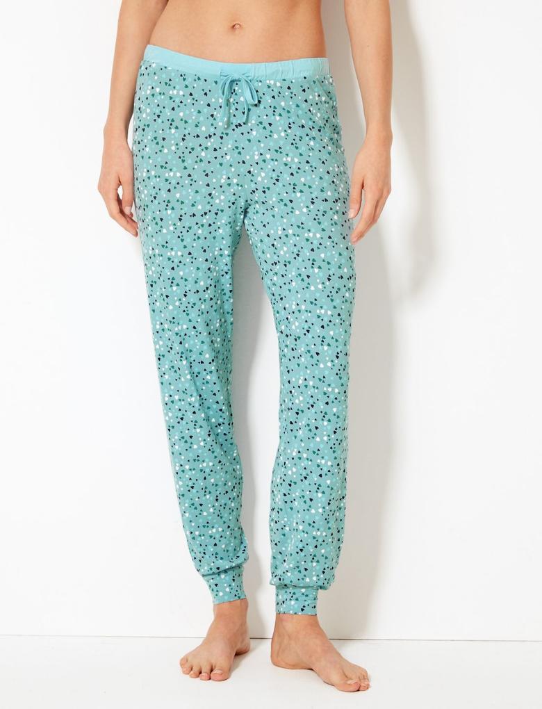 Kadın Mavi Kalp Desenli Pijama Altı