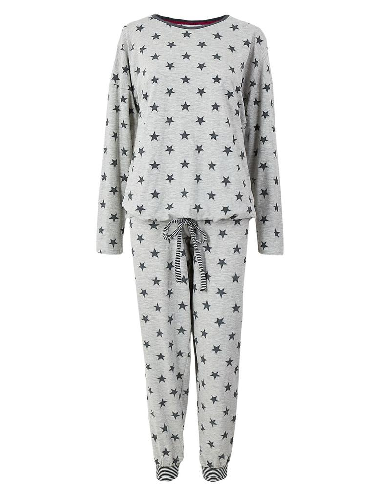 Pamuklu Yıldız Baskılı Pijama Takımı