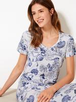 Kadın Mavi Pamuk ve Modal Karışımlı Gecelik