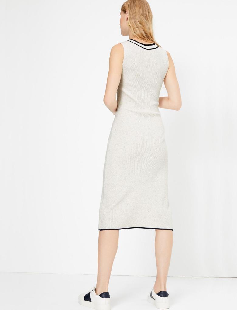 Kadın Bej Kolsuz Triko Midi Elbise