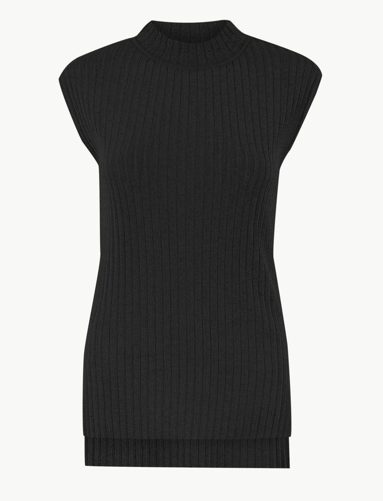 Kadın Siyah Kolsuz Triko Bluz