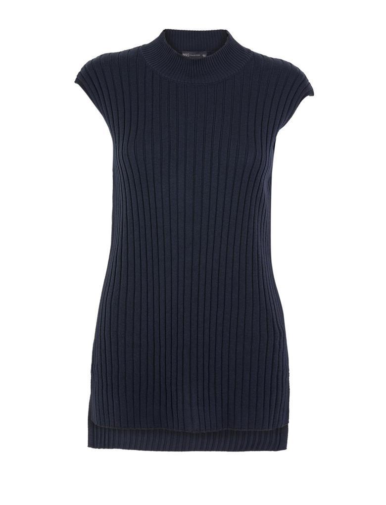 Kadın Lacivert Fitilli Triko Kolsuz Bluz