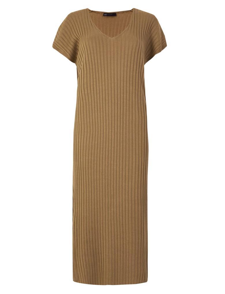 Kadın Kahverengi V Yaka Triko Elbise