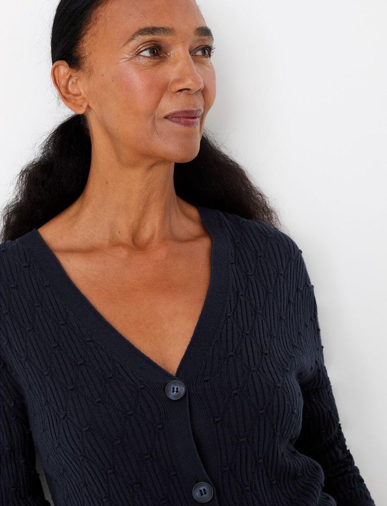 Kadın Lacivert V-Yaka Düğmeli Hırka