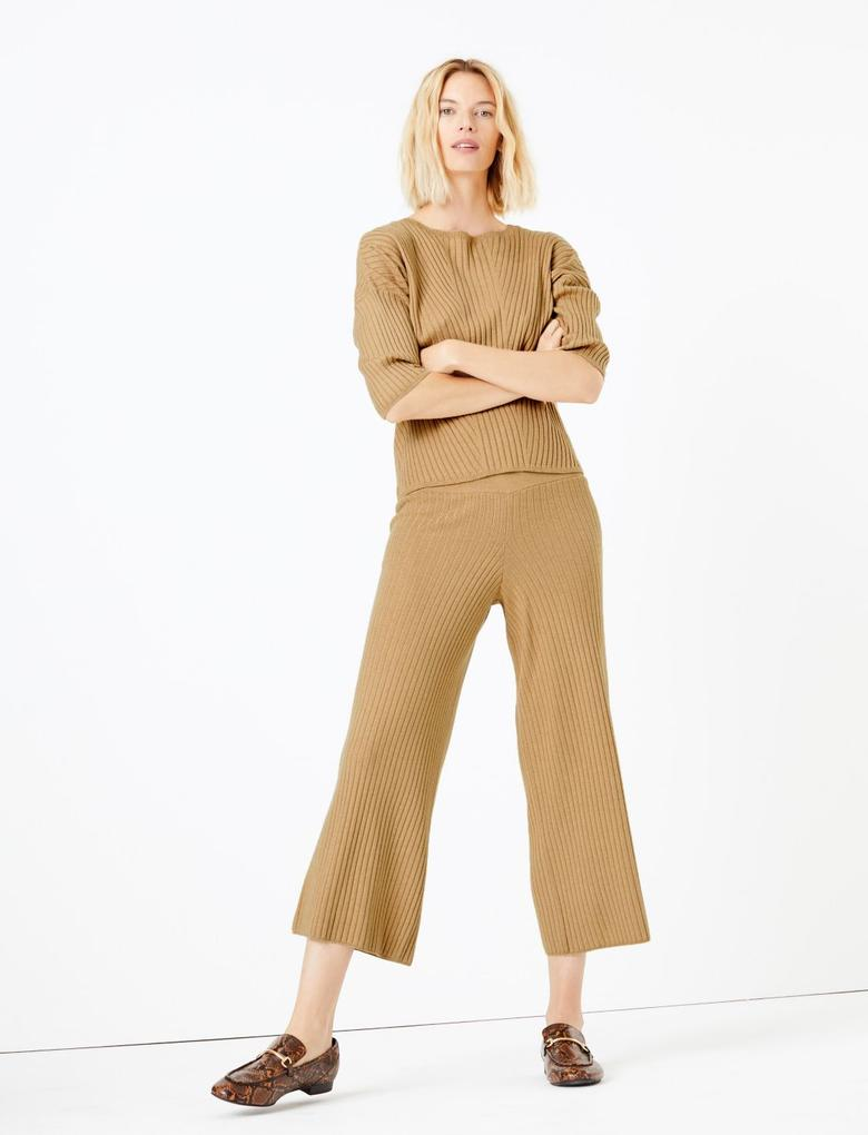 Kadın Kahverengi Fitilli Triko Wide Leg Pantolon