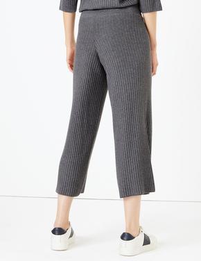 Kadın Gri Fitilli Triko Wide Leg Pantolon