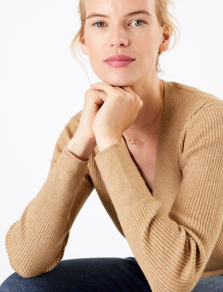 Kadın Kahverengi V Yaka Düğmeli Hırka