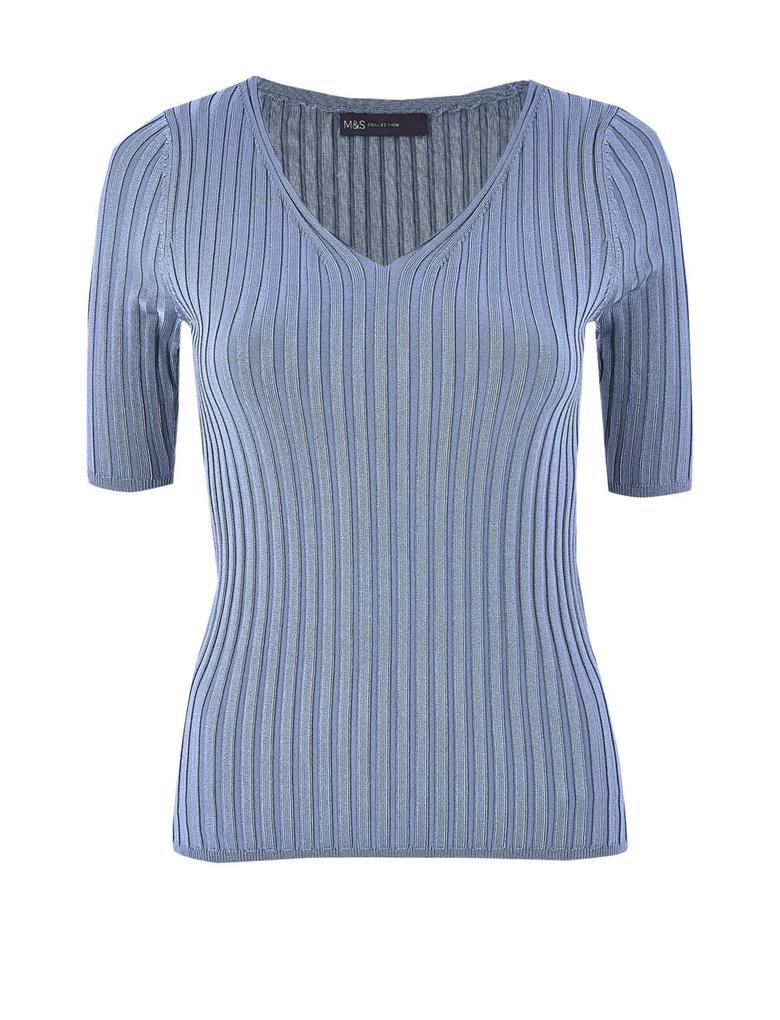 Kadın Mavi V-Yaka Fitilli Örme Bluz
