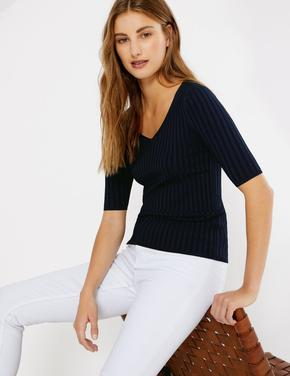 V-Yaka Fitilli Örme Bluz