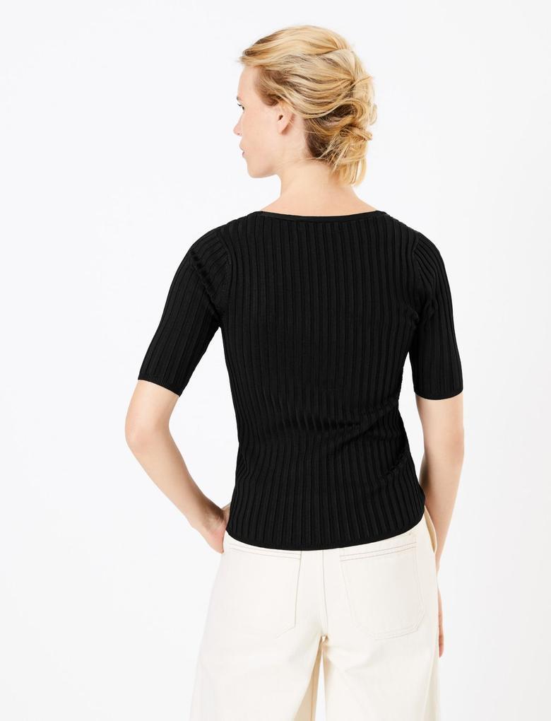 Kadın Siyah V-Yaka Fitilli Örme Bluz