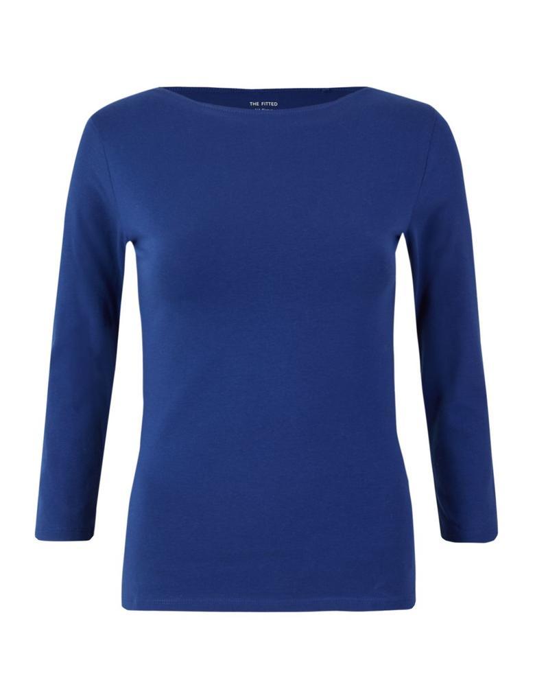 Mavi Pamuklu Kayık Yaka T-shirt