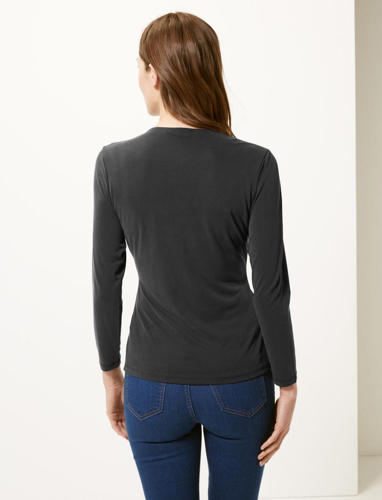 Kadın Siyah V Yaka Uzun Kollu Bluz