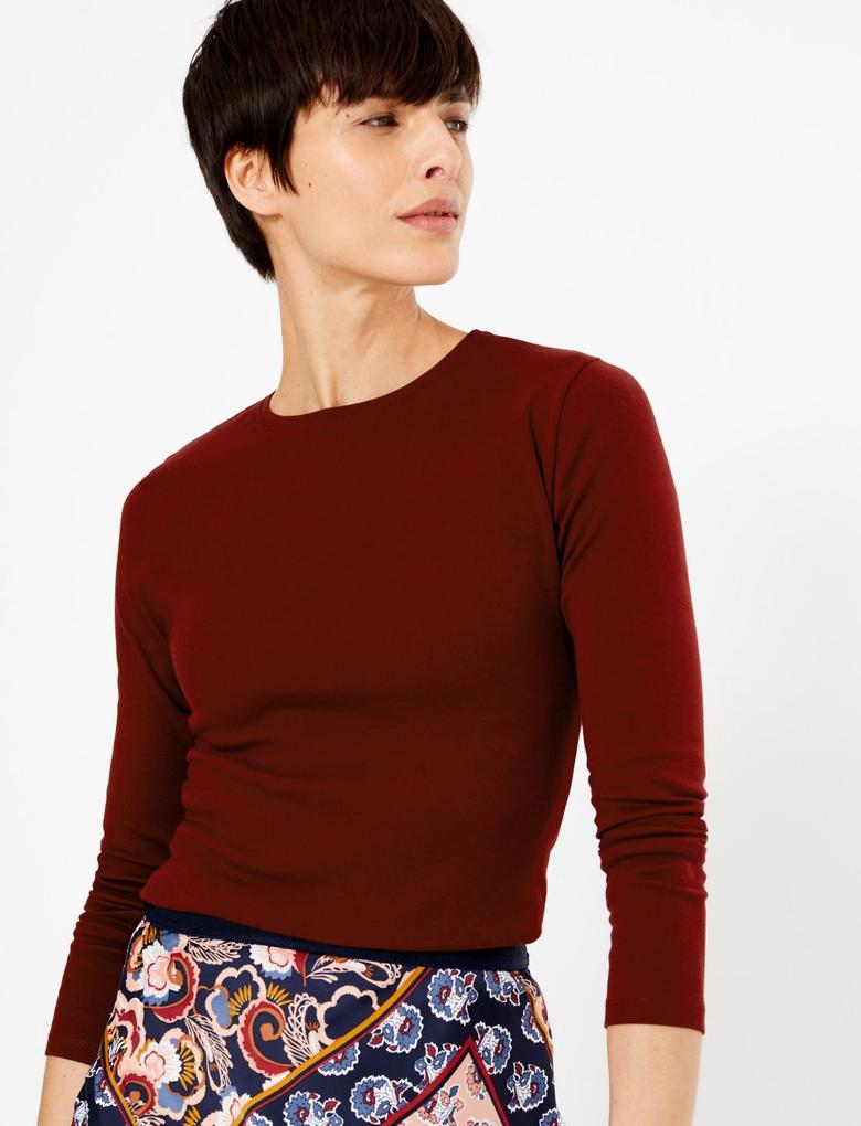 Kadın Mor Saf Pamuklu Regular Fit T-shirt