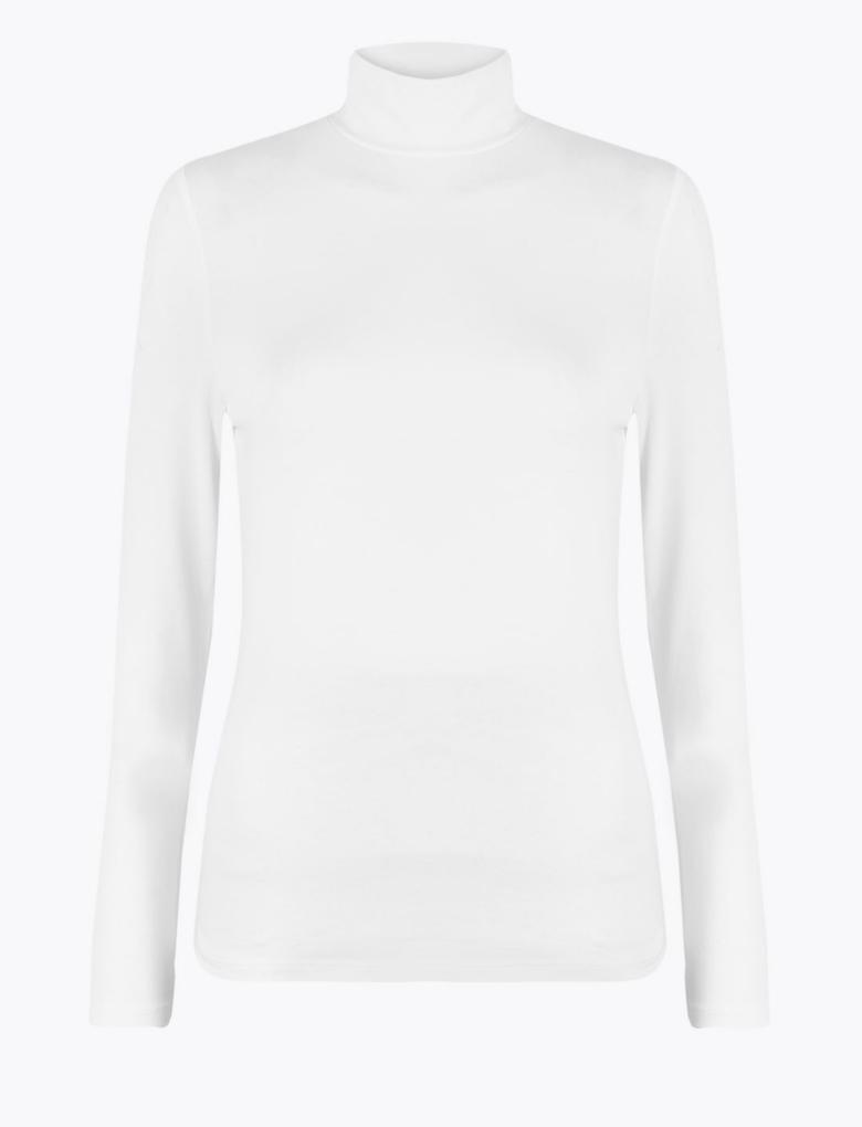 Kadın Beyaz Pamuklu Boğazlı T-shirt