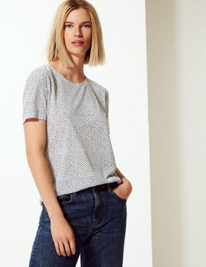 Beyaz Polka Dot Relaxed Fit T-shirt