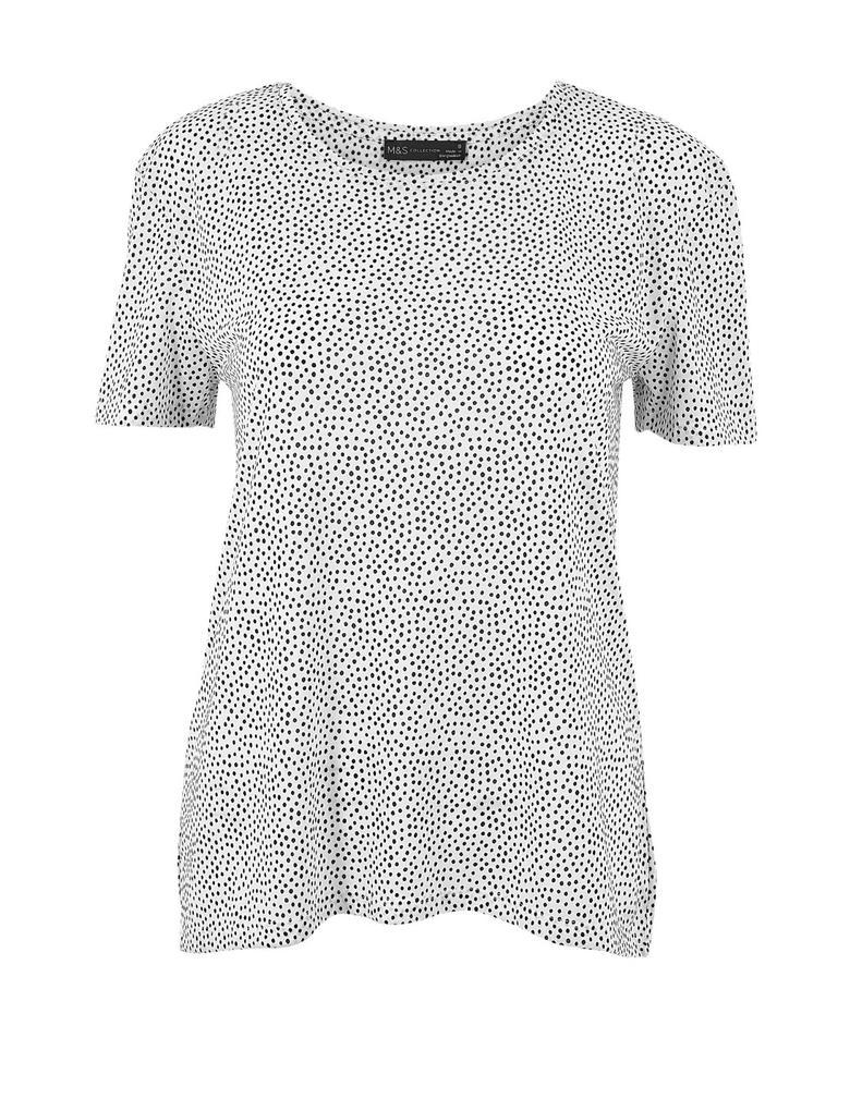 Kadın Beyaz Polka Dot Relaxed Fit T-shirt